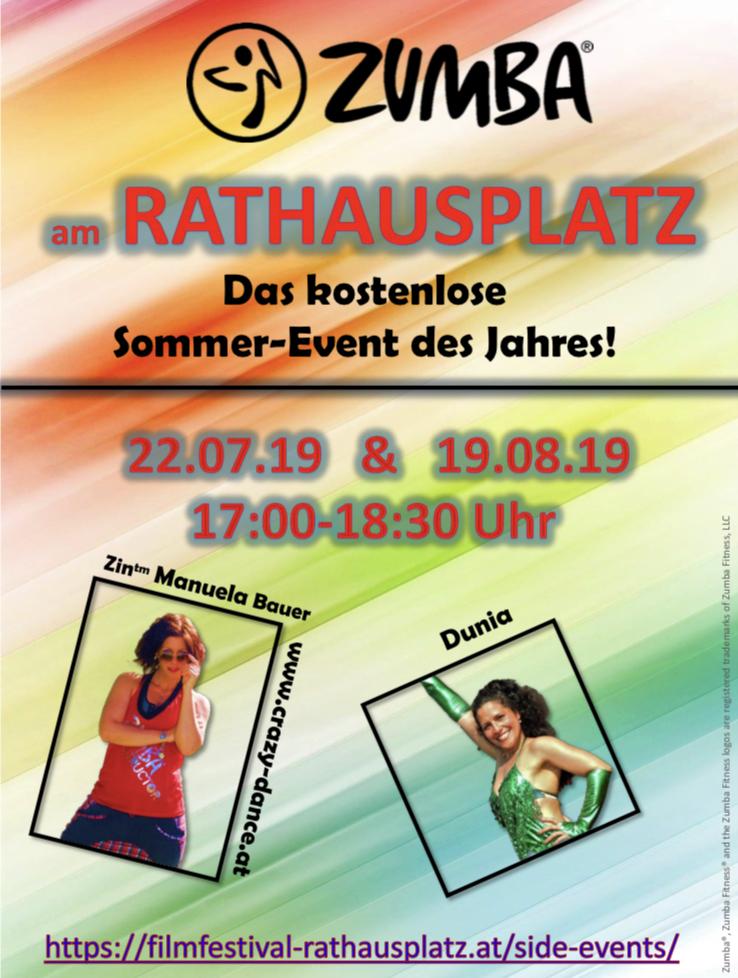 Zumba mit Manu Zumba am Rathausplatz  www.crazy-dance.at Manuela Bauer Film Festival  Zumba Fitness